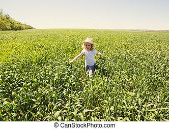 été, peu, extérieur, champ blé, blond, girl