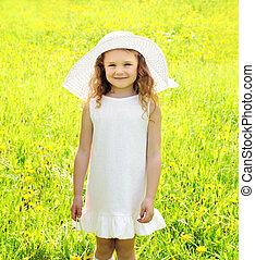 été, peu, fleur, pré, pissenlit, enfant, ensoleillé, jaune, dehors, portrait, girl, jour