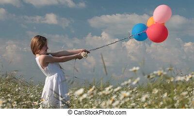 été, peu, luxuriant, champ, tenue, girl, ballons, vent