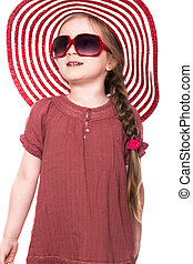 été, peu, panama, sunglasses., chapeau, girl, robe