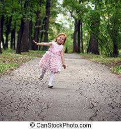 été, peu, parc, courses, girl, heureux
