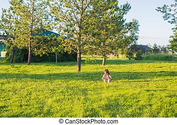 été, peu, park., amusement, girl, avoir, heureux