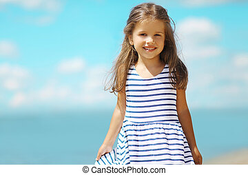 été, peu, plage, portrait, girl, robe