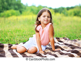 été, peu, plaid, séance, dehors, portrait, girl, heureux