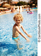 été, peu, pool., outdoor., girl, natation