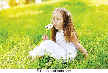 été, peu, souffler, girl, pissenlit, ensoleillé, enfant fleur, portrait, blanc, herbe, jour