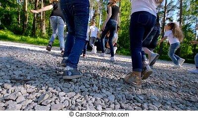été, peu, yard, soleil, football, parc, enfants, sous, jouer, jour