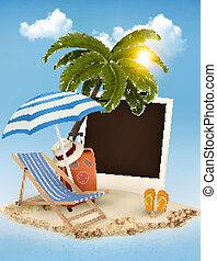 été, photographie, concept, arrière-plan., vacances, arbre, paume, chair., vector., plage