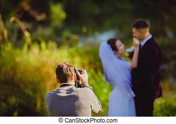 été, photoshoot, parc, mariage