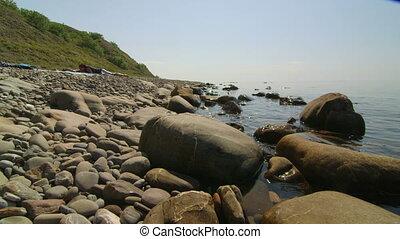 été, pierre, côte, noir, vacances, mer, sauvage, plage