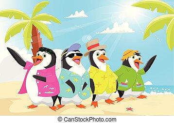 été, pingouins, plage, mignon