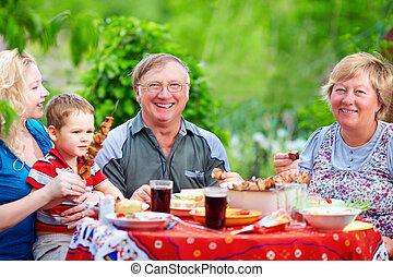été, pique-nique famille, ensemble, dehors, heureux