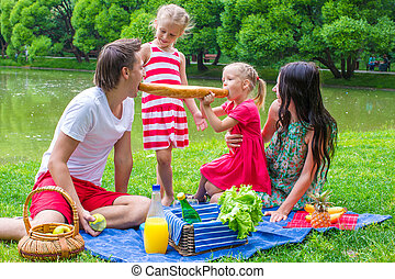 été, pique-nique, famille, parc, quatre, avoir, jour