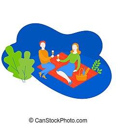été, pique-nique, romantique, plat, couple, panier, vacances, parc, date., petite amie, amour, vacances, dessin animé, petit ami