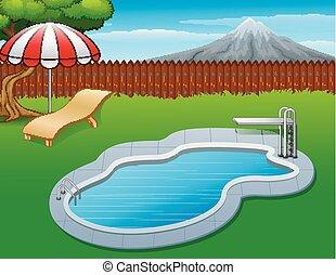 été, piscine, natation