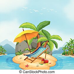 été, plage, île