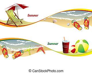 été, plage, bannières