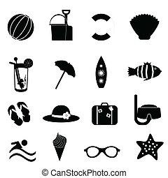 été, plage blanche, icônes