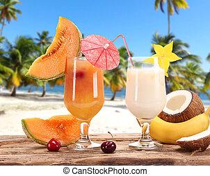 été, plage, boissons