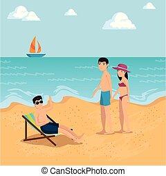 été, plage, conception, vacances, gens