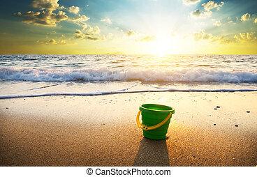 été, plage., coucher soleil