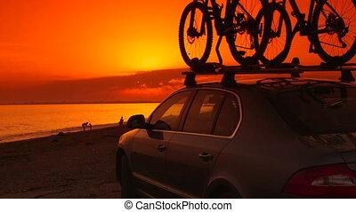 été, plage, coucher soleil, vacances, voyageurs