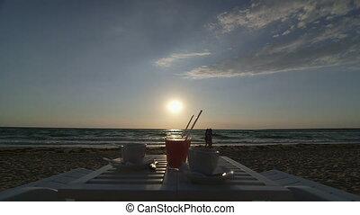 été, plage, deux, table