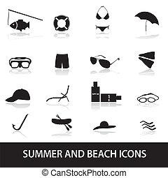 été, plage, eps10, icônes