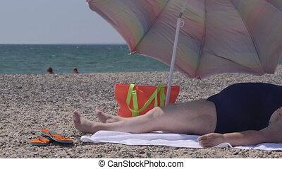 été, plage, excès poids, personne