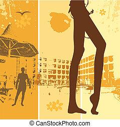 été, plage, femme, beau, vacances