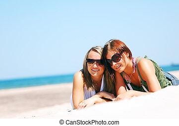 été, plage, filles, jeune