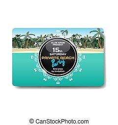 été, plage., flyer., invitations, exotique, vecteur, paysage, fête, affiches, templates.