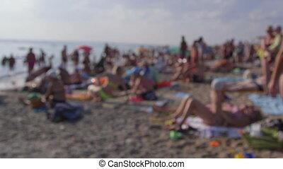 été, plage, foule