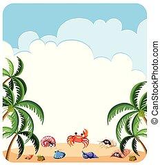été, plage, gabarit