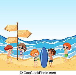 été, plage, gens