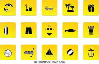 été, plage, icônes