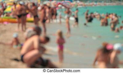 été, plage, jour, bondé