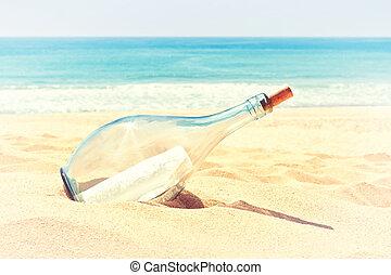 été, plage., lettre, sable, chaud, colors., bouteille, détresse