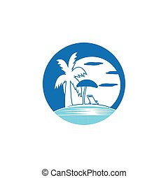 été, plage, logo, vecteur, vacances