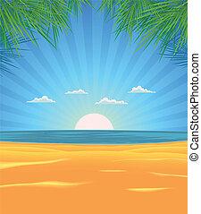 été, plage, paysage