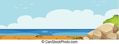 été, plage, paysage, panorama