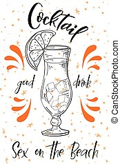 été, plage., poster., cocktail, alcoholc, vecteur, fond, fête