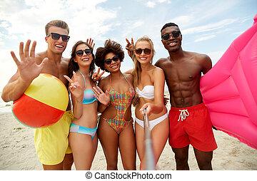 été, plage, prendre, amis, selfie, heureux