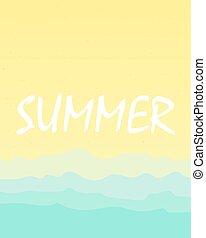 été, plage sable, mer, fond