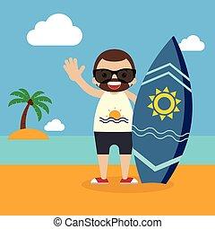 été, planche surf, plat, vacances, illustration, surfeur, vecteur, conception