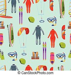 été, planche voile, tuyauterie, gens, surfer, flotteur, actif, mer, accélérez bateau, tools., jet, modèle, seamless, sports, plage, banane, activités, plongeon, eau, snorkel, illustration., ski, cavalcade, vecteur, scaphandre