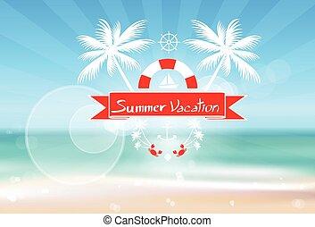 été, plat, île, arbre, océan vacances, exotique, paume, vacances