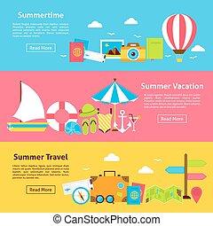 été, plat, voyage, horizontal, vacances, bannières