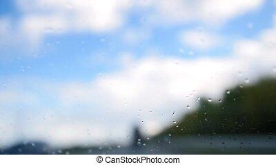 été, pluvieux, -, arrière-plan., defocused, pare-brise, jour, autoroute, waterdrops
