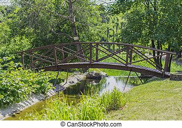 été, pont, ensoleillé, parc, jour, sentier, ville